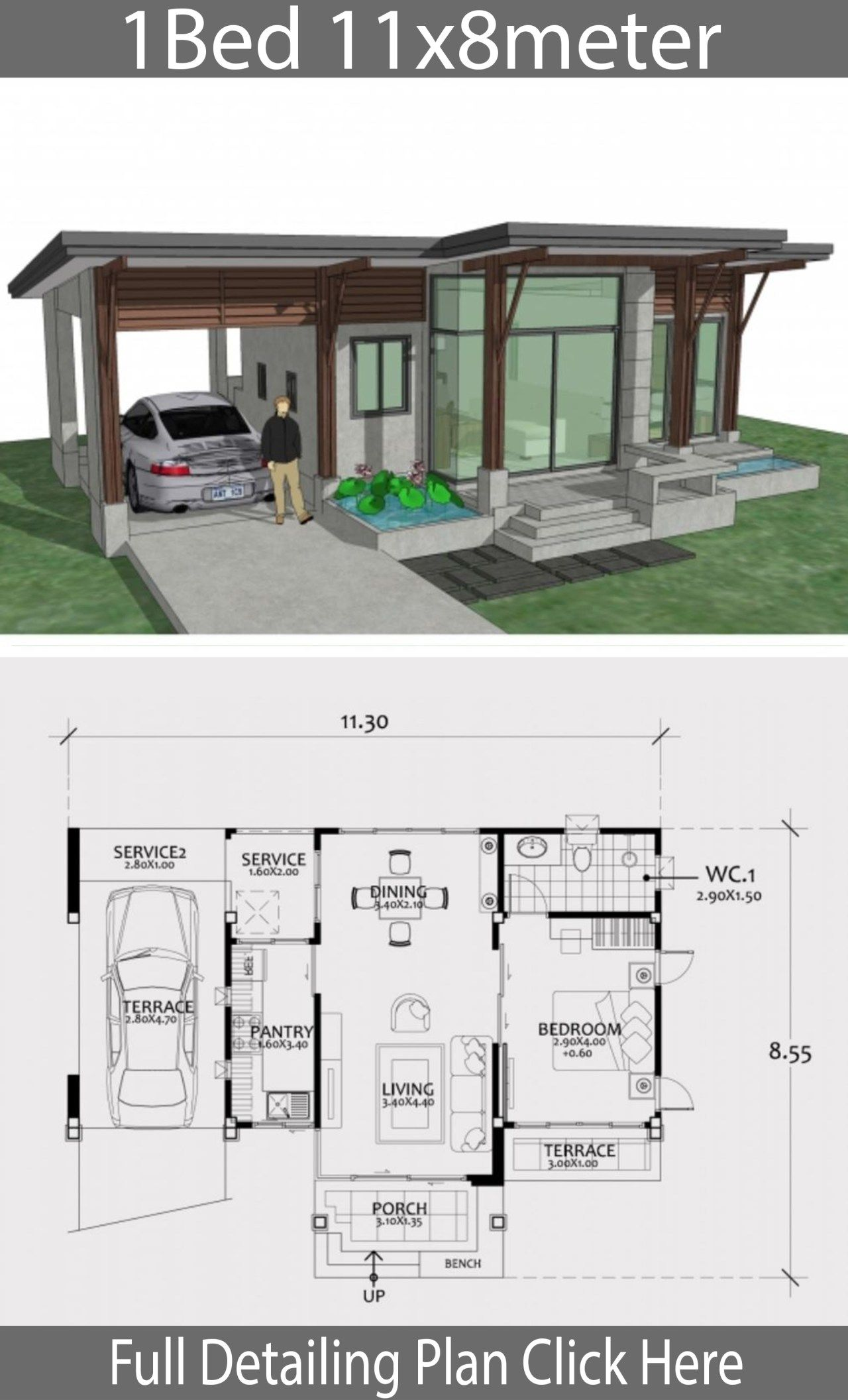 Home Design Plan 11x8m With One Bedroom Home Design Plan House Design Small House Design