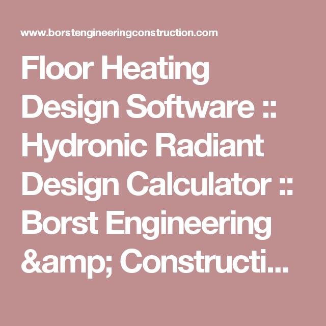Floor Heating Design Software :: Hydronic Radiant Design