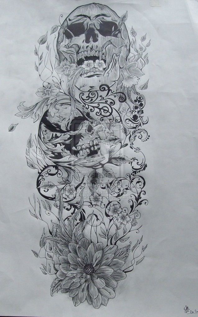 Skull sketch Full sleeve tattoo design, Skull tattoo