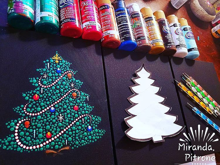 Getting Ready For The Live Youtube Christmas Tree Video Tonight Join Me And Maria Clark Sweetwillowdsgn For A Super Fun Paint Dots Art Christmas Dot Painting