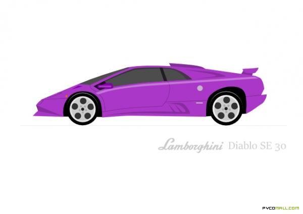 Car Art Vector Pycomall Lamborghini Diablo Se30 Vector Art