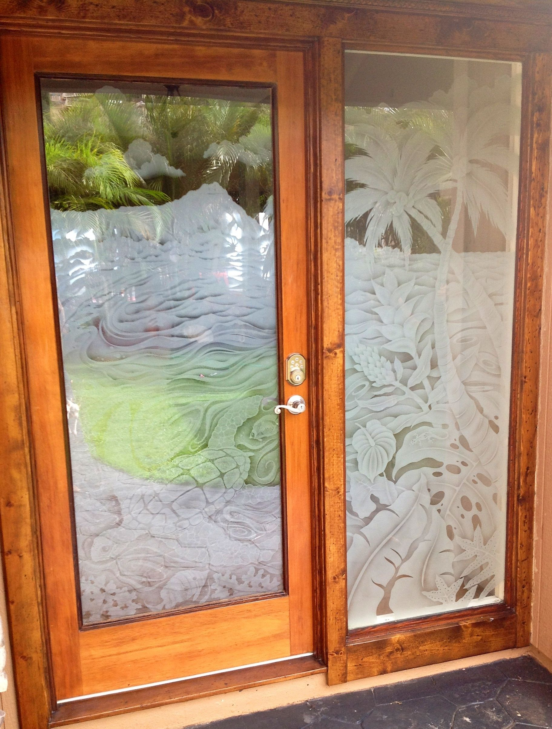Etched Front Doors With Underwater Scene Diamond Head Geckoz
