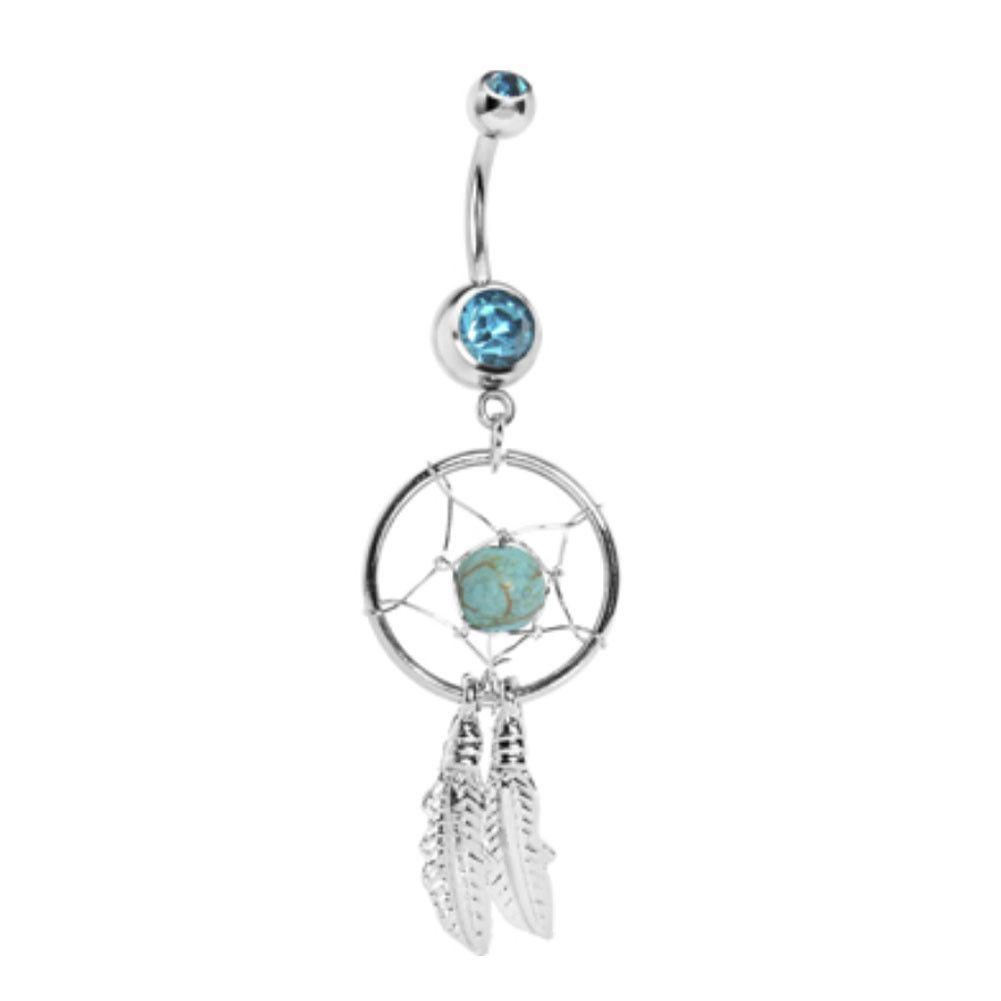 Belly piercing jewelry  L Steel Crystal Dream catcher Chain Dangle Navel Belly Button