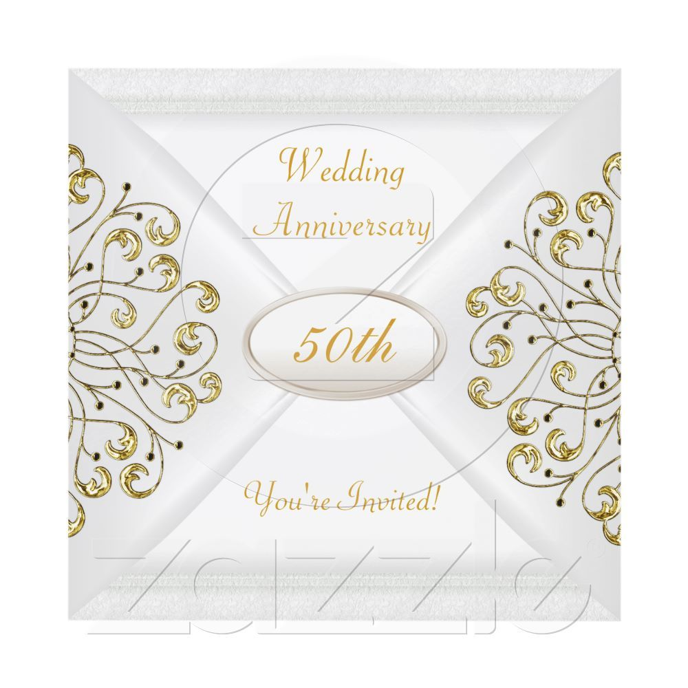 Elegant 50th wedding anniversary white gold card wedding elegant 50th wedding anniversary white gold card kristyandbryce Choice Image