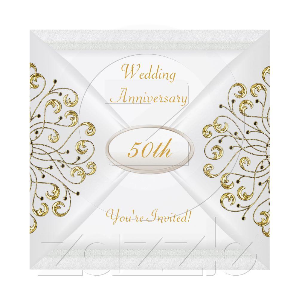 Elegant 50th Wedding Anniversary White Gold Invitation | Wedding ...