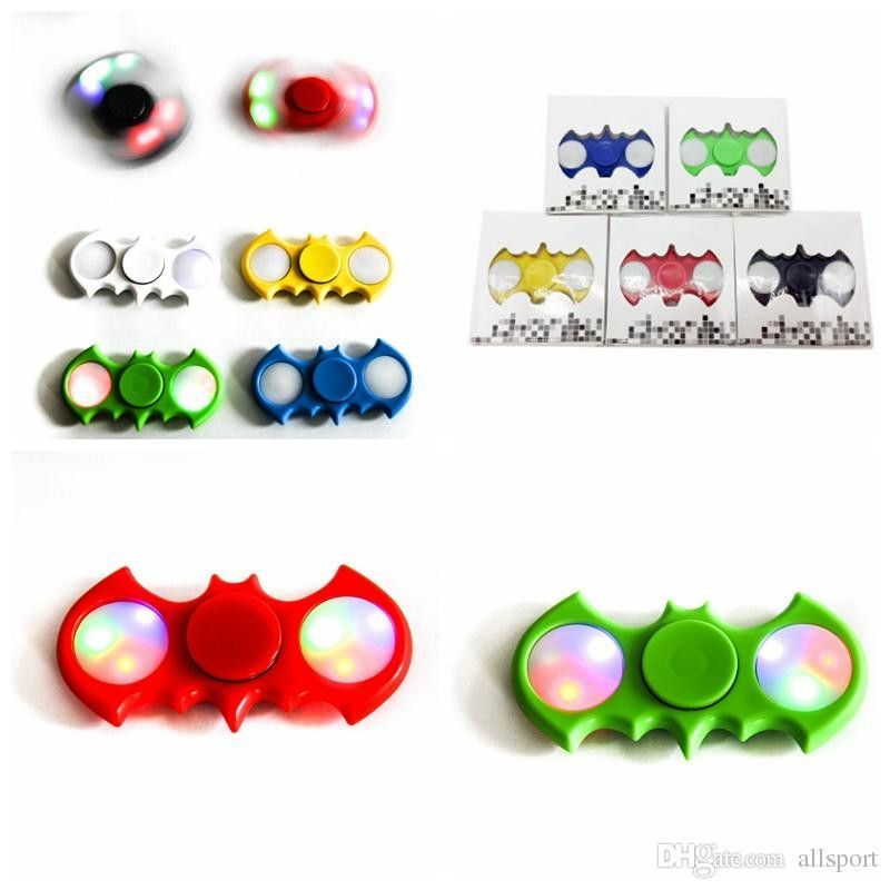 2017 New Batman LED Fidget spinners With Acrylic Plastic Led Fidget Spinner Batman Decompression Fidgets Spinner Toy Free DHL BEY032