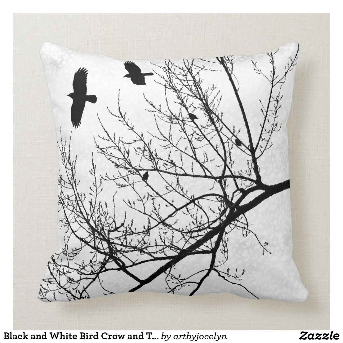 Black And White Bird Crow And Tree Silhouette Throw Pillow Zazzle Com In 2021 Black And White Birds Throw Pillows Tree Silhouette