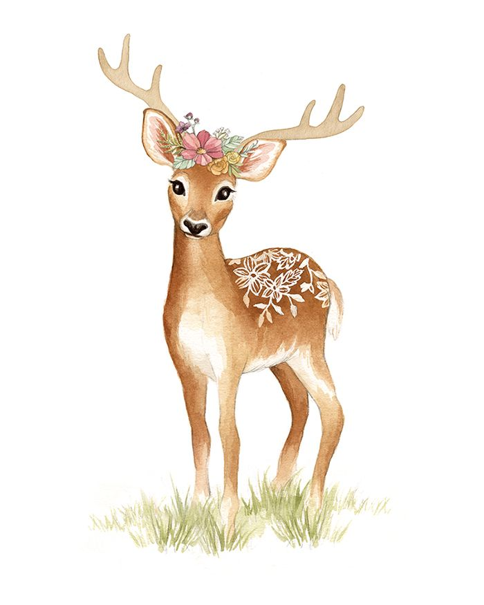 Deer with Flower Crown - Woodland Animal Watercolour Illustration by www.aliciasinfinity.com