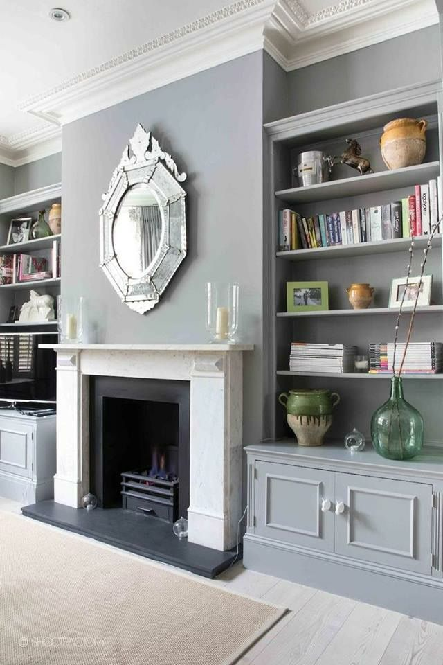 Grey Lounge With Built In Bookcases And Lovely Fireplace With Feature  Mirror   London Victorian Terrace   Photoshoot Location Via SHOOTFACTORY.