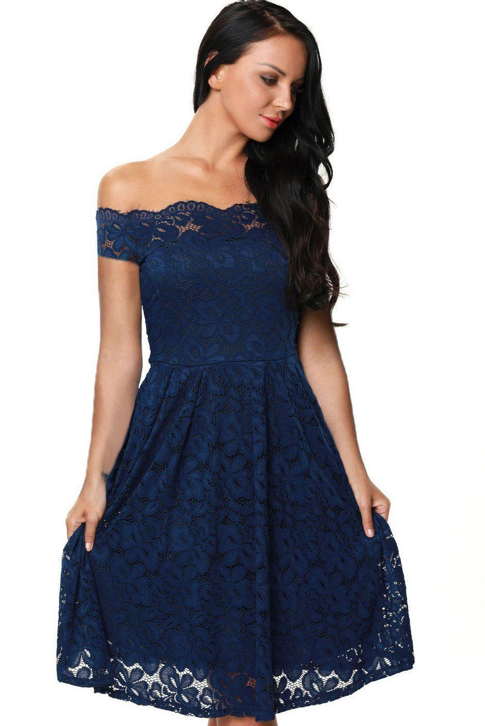 Chic navy blue scalloped off shoulder short sleeve lace flared dress