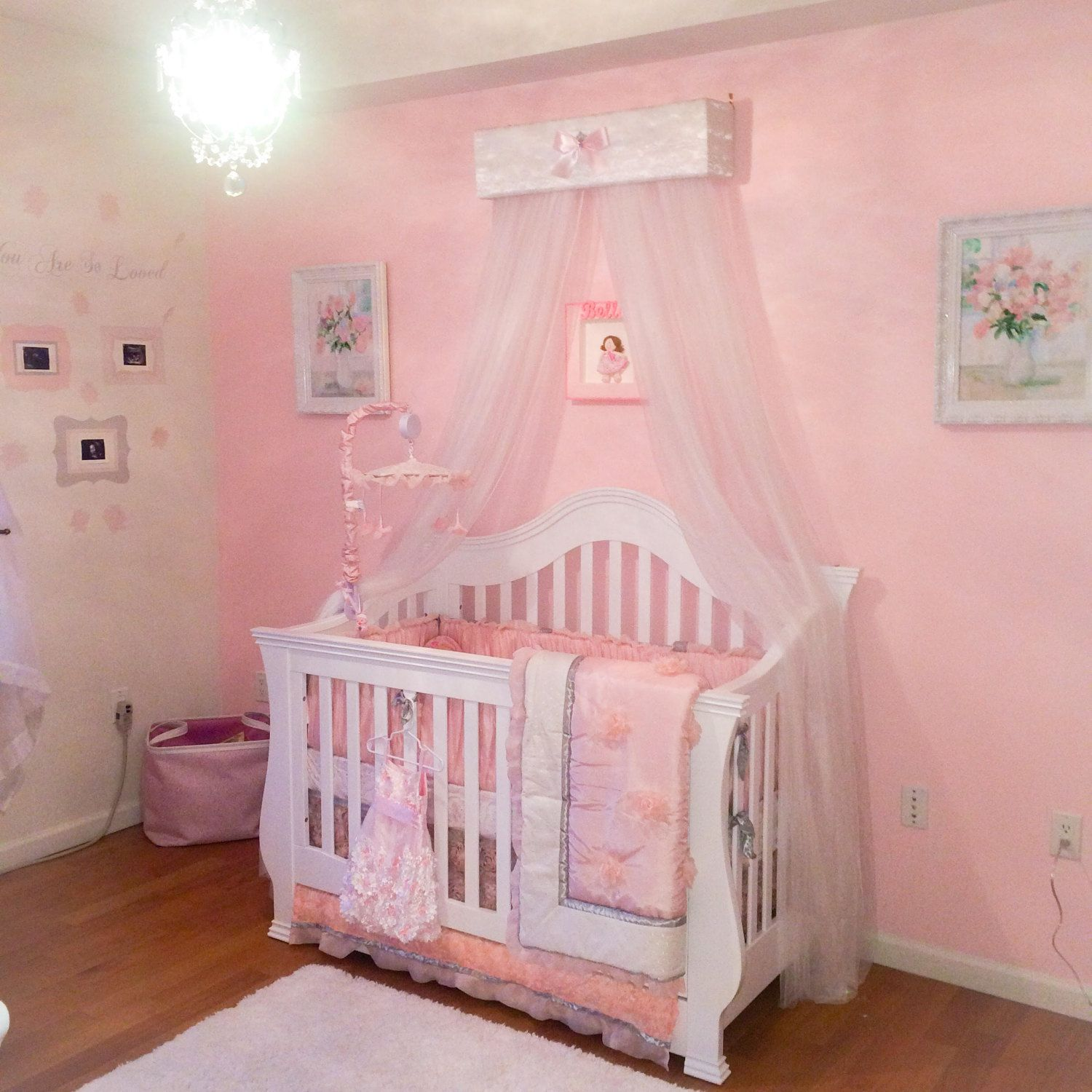 Princess Bed Canopy Girl CrOwN Pelmet Upholstered Awning White Light Pink  Bedroom Nursery Crib FrEe ShiPPinG