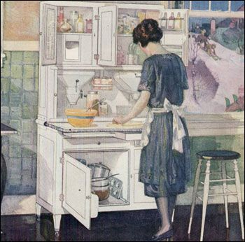 1922 hoosier cabinet ad illustration though 1920s for Modern 1920 s kitchen