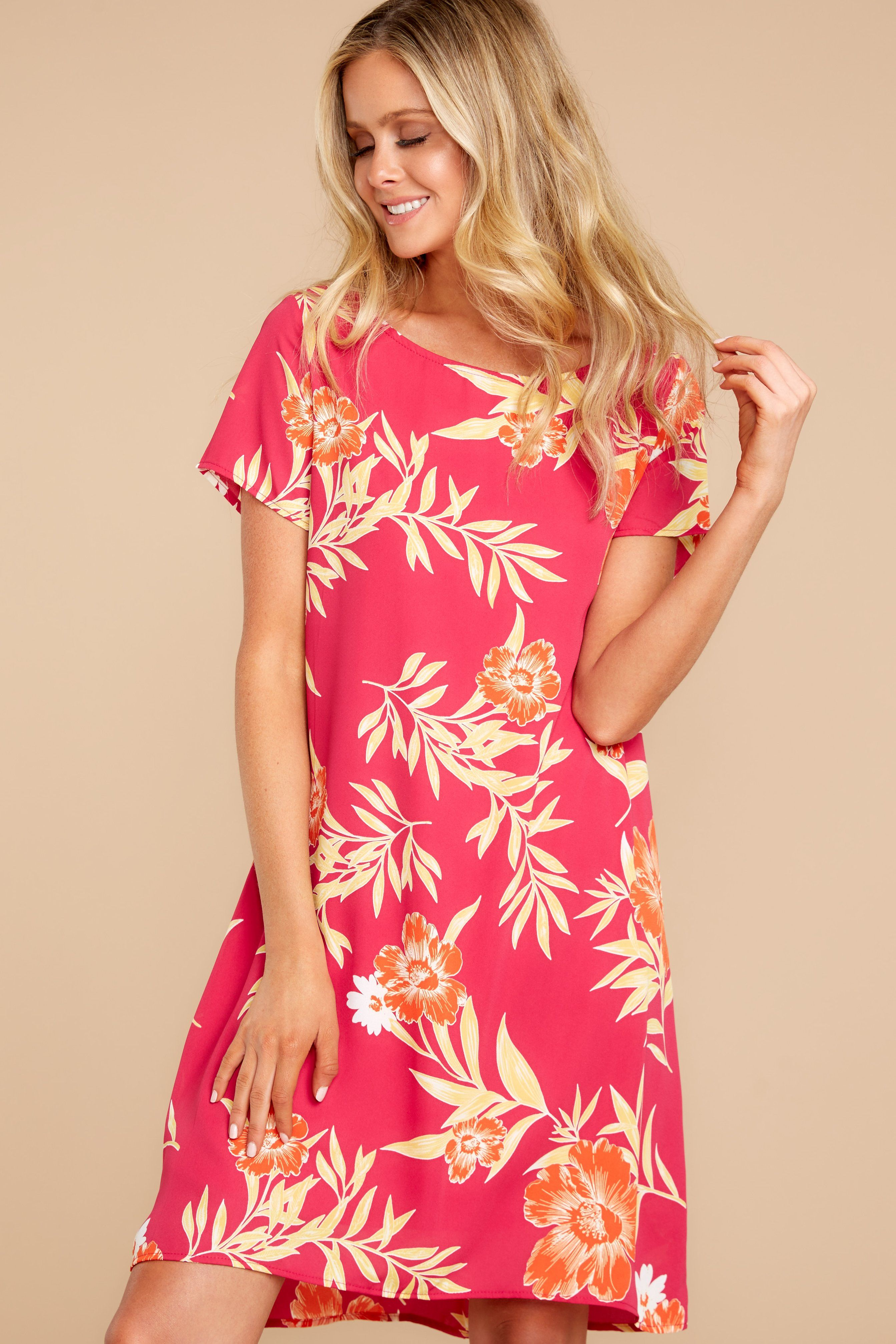 9fb0f491fbe Cute Fuchsia Tropical Print Dress - Trendy Tropical Print Dress - Dress -   44.00 – Red Dress Boutique