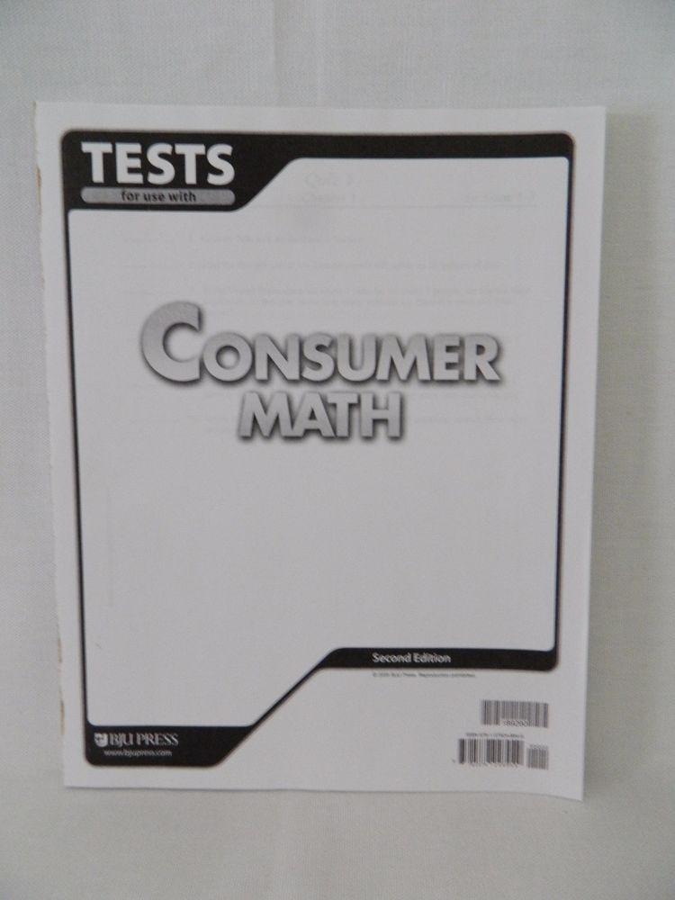 Bob Jones Consumer Math Student Test, 2nd Ed School or Homeschool ...
