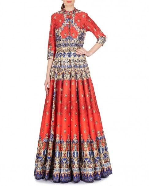 Andrea - Scarlet Red and Purple Anarkali