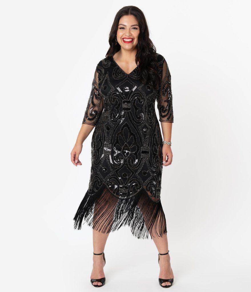 Plus size 1920s black beaded fringe flapper dress