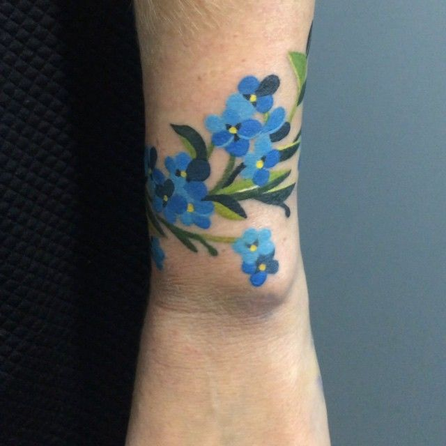 100 Latest Bracelet Tattoo Designs For Ladies: Forget Me Nots...Something Like This In Poppie's Memory