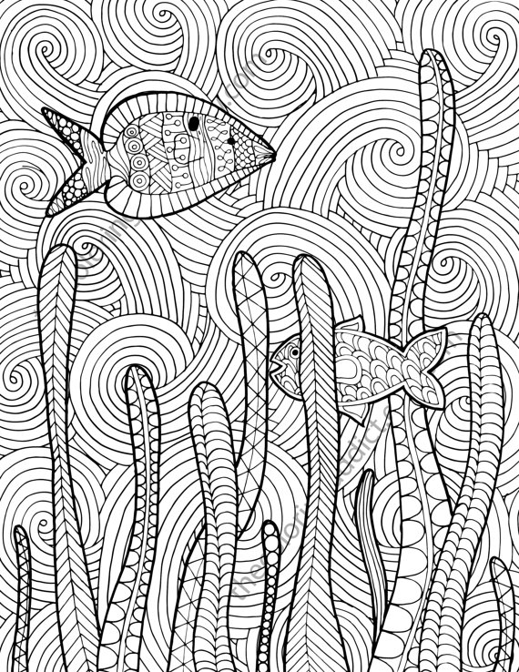 Zentangle fish adult coloring page adult coloring sheet