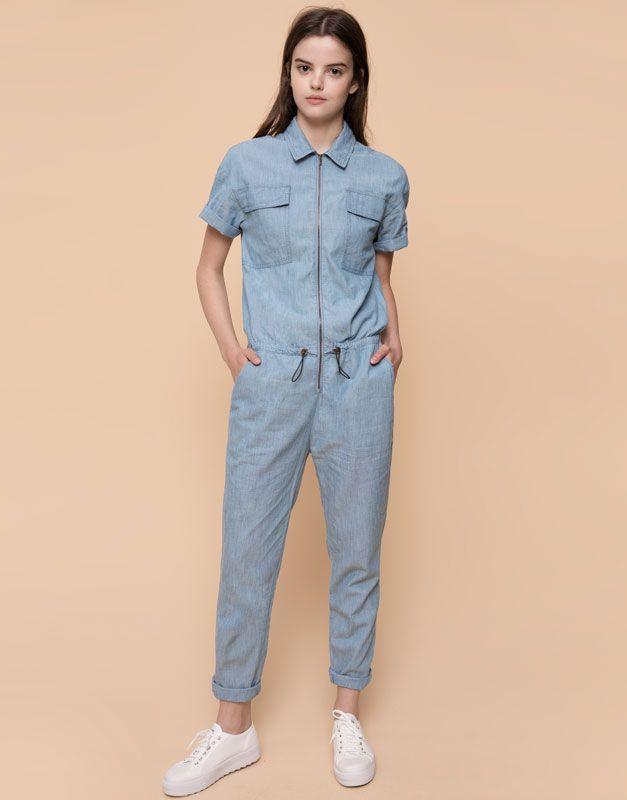 pull bear femme salopettes et combinaisons combinaison longue en jean bleu 09635309. Black Bedroom Furniture Sets. Home Design Ideas
