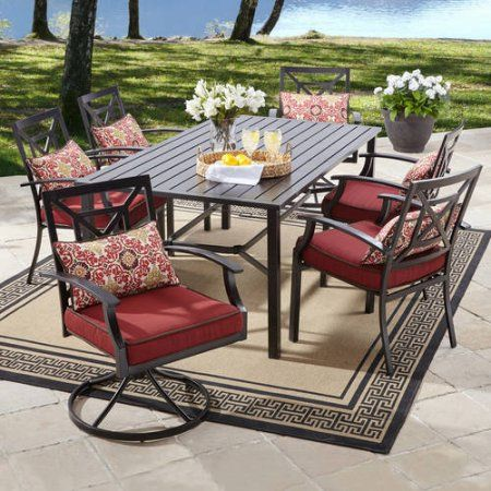 Better Homes And Gardens Carter Hills 7 Piece Dining Set, Maroon