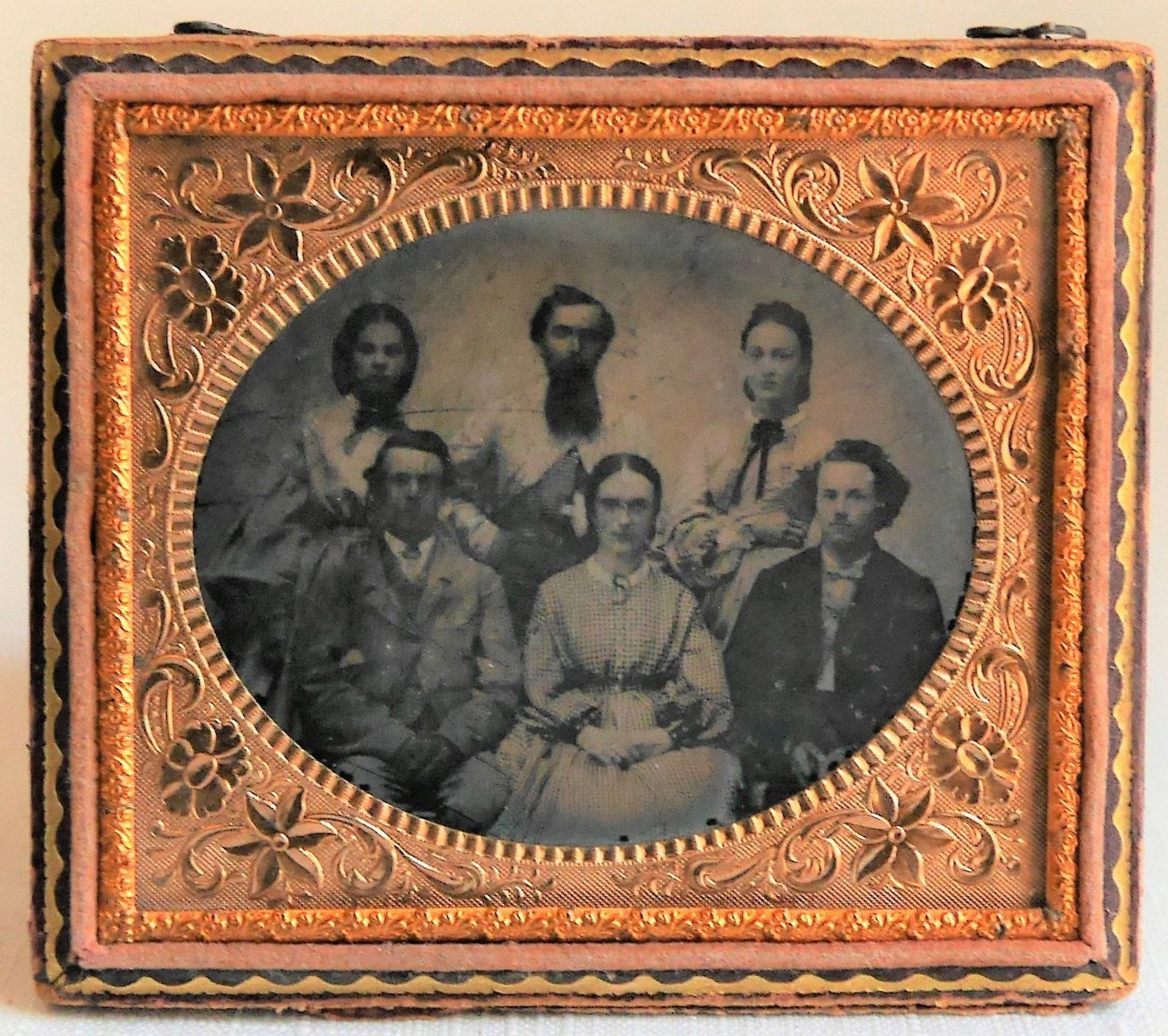 Antique Ambrotype Photograph of Family Horizontal Photo