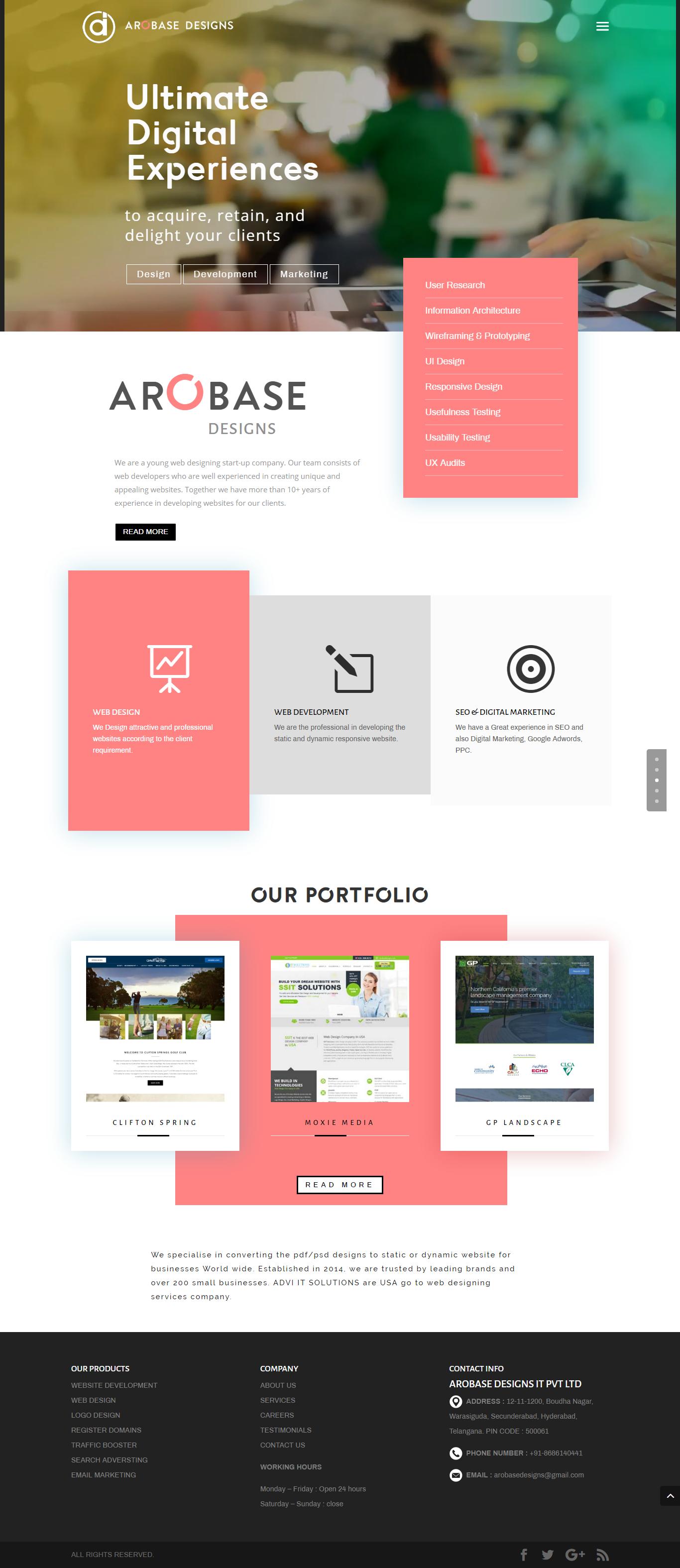 Arobase Designs Website Design Layout Creative Website Design Design