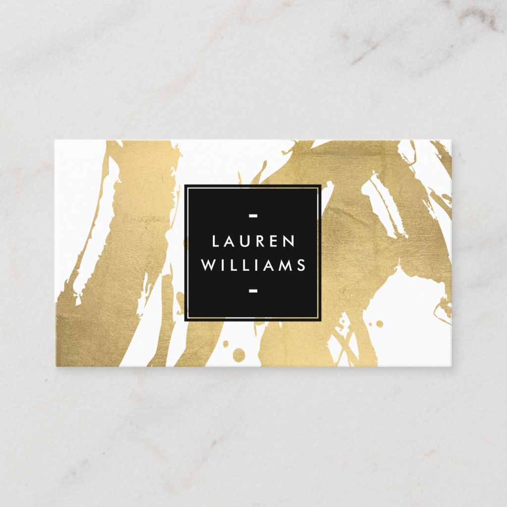Abstract Faux Gold Brushstrokes On White Business Card Zazzle Com Printing Business Cards Makeup Artist Business Cards Templates Cool Business Cards