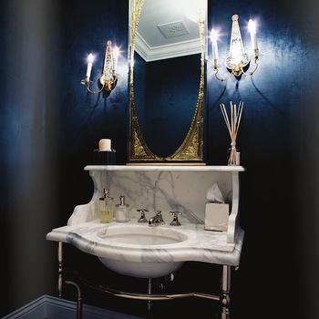 calcutta marble washstand | dark blue bathrooms, navy blue