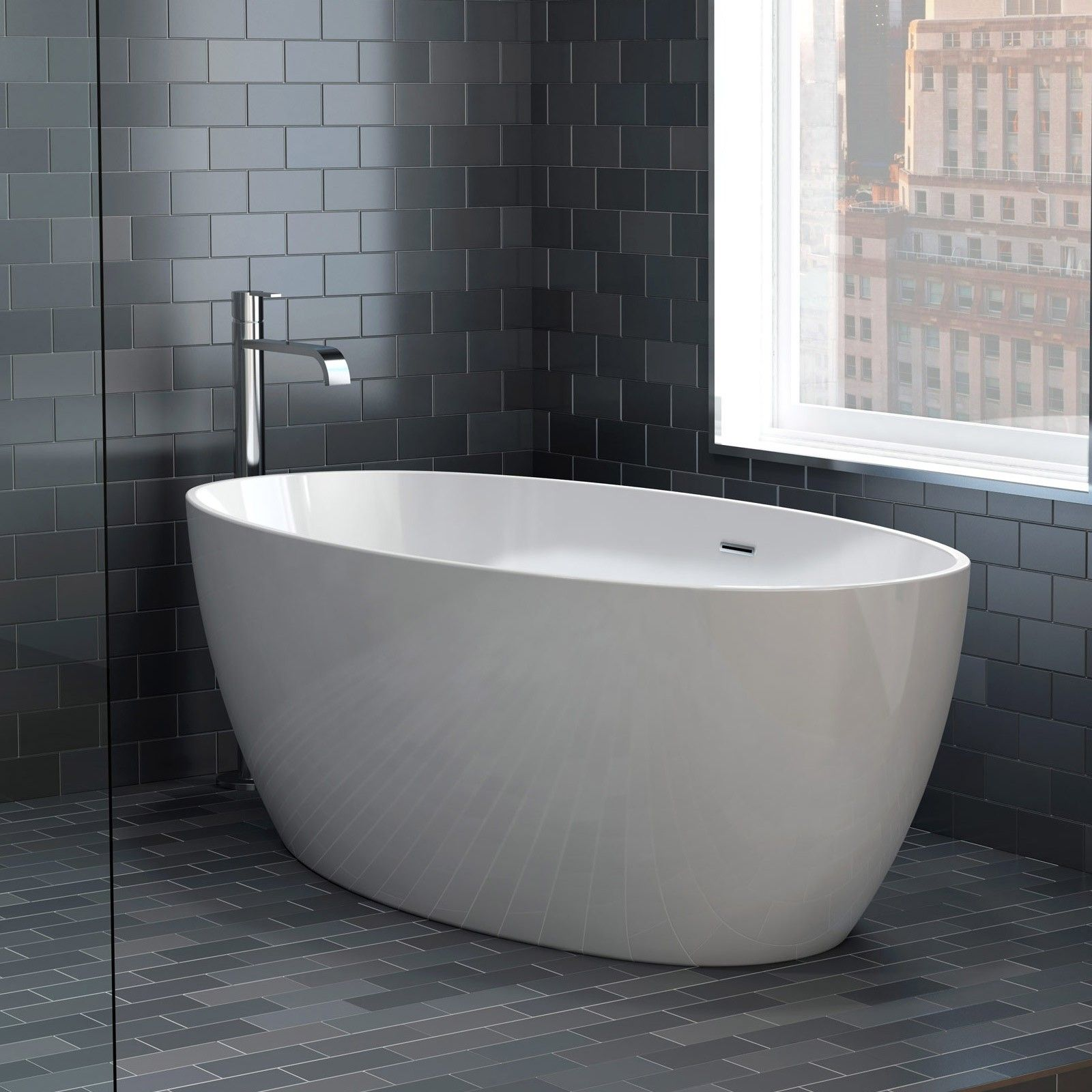 Aria Voce Petite 55 Inch Acrylic Double Ended Freestanding Bathtub ...