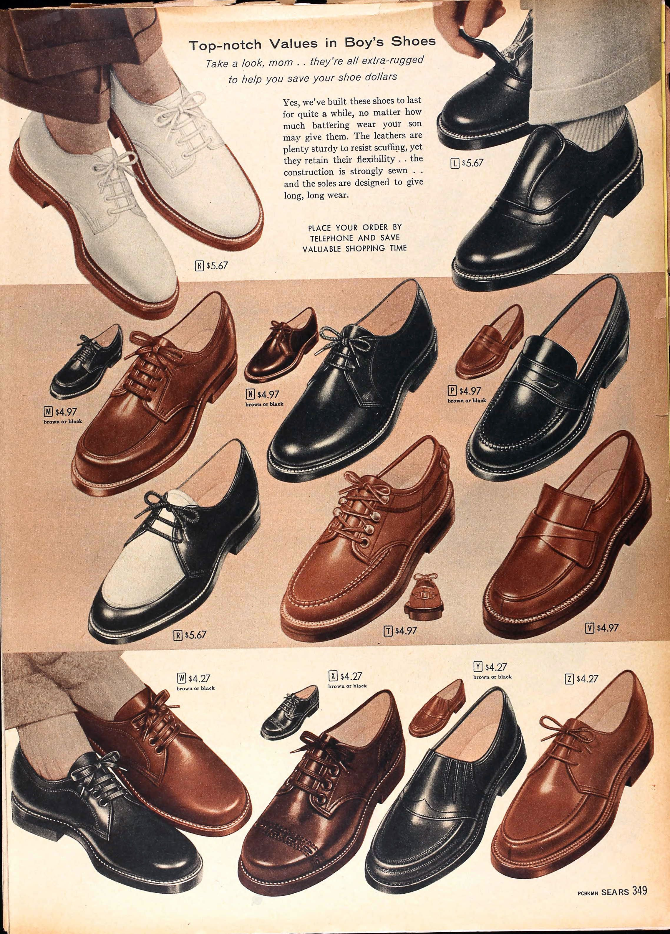 sears catalog spring summer 1958 boys shoes ретро мода