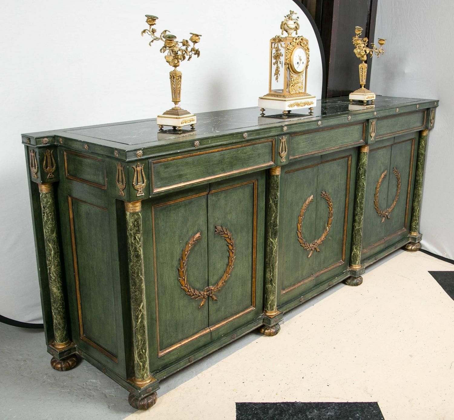 Monumental Italian Neoclassical Style Paint Decorated Marble-Top Console | From a unique collection of antique and modern buffets at https://www.1stdibs.com/furniture/storage-case-pieces/buffets/