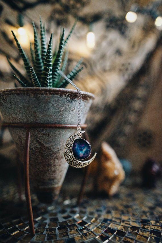 Mond Galaxy Halskette  Silber Hippie Hipster Boho von SavannahAvril