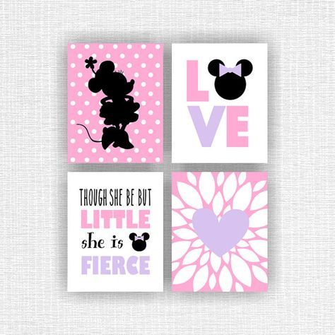 INSTANT DOWNLOAD Disney Pink Gold Minnie Mouse Monogram Crown Heart Quote Baby Girl room Wall Art decor prints Set of 7, 8×10-5 and 5×7-2