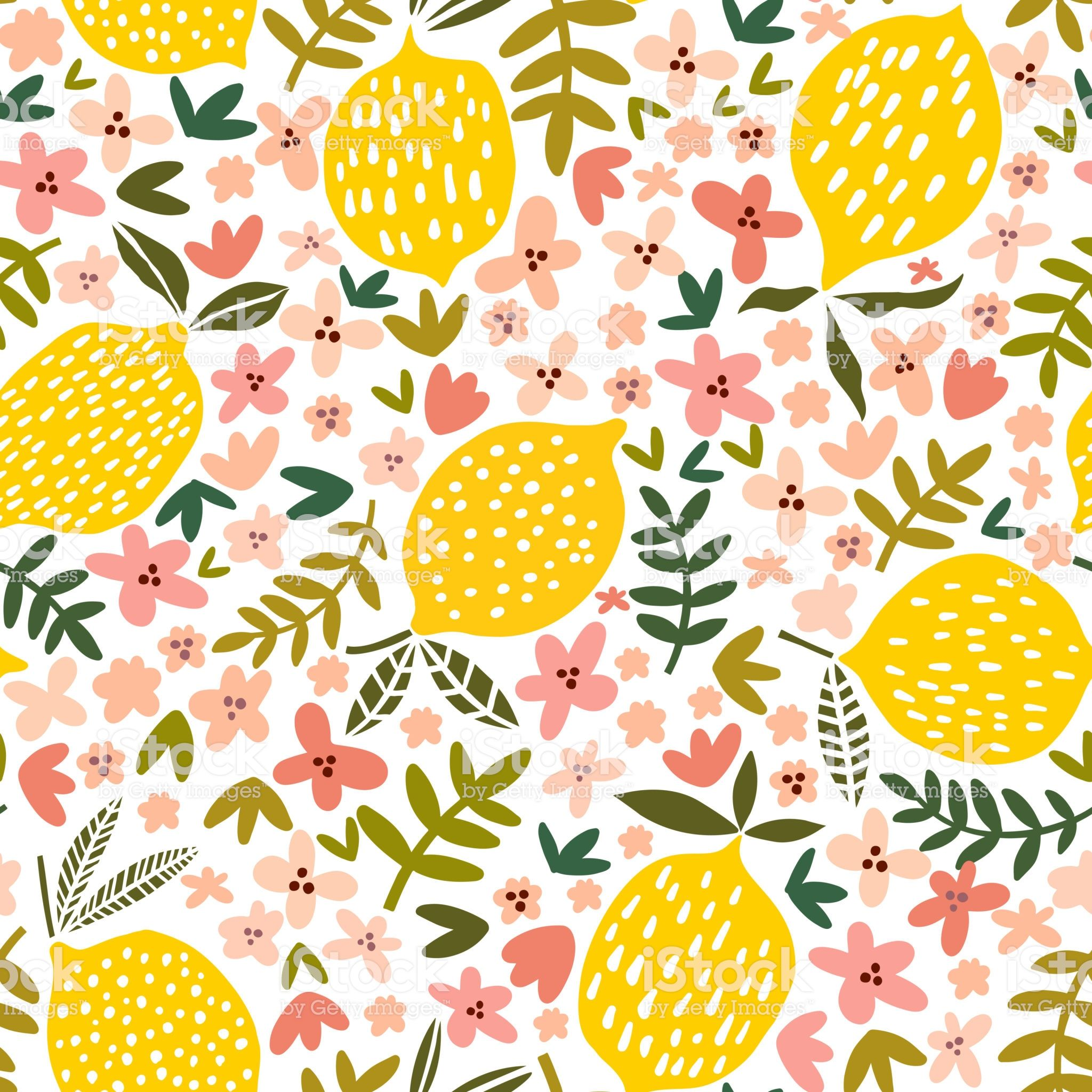 Vector Flower And Lemon Seamless Pattern Floral Background In