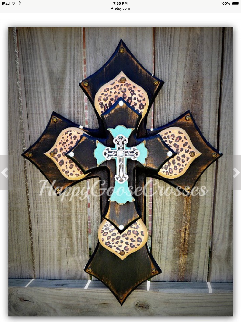 Wall Cross Wood Medium As Seen On The Hit Cbs Show Odd Antiqued Black Turquoise With Leopard Cheetah