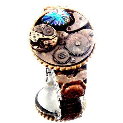 Steampunk neo victorian pocket watch  vintage  rhinestone stretch bracelet 4169.99