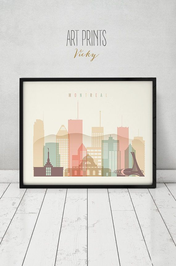 Montreal print, Poster, Wall art, Canada cityscape, Montreal skyline ...