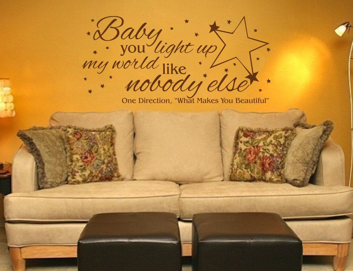 Vinyl Wall Decal - One Direction, Baby You LIGHT Up My WORLD Like ...