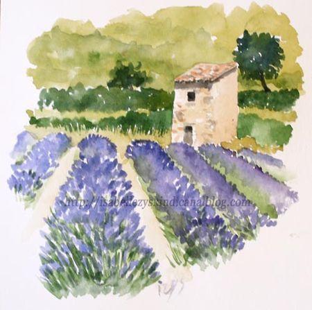 Lavande Imprime Original Peinture A L Aquarelle Lavande Violet Et