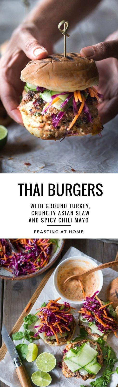 Thai Turkey Burgers with Crunchy Asian Slaw