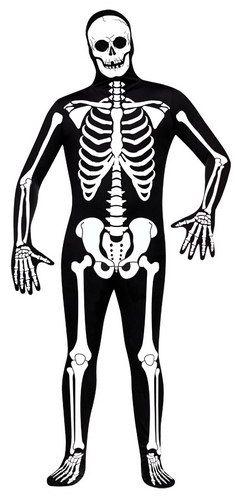 SKELETON SKINSUIT X-RAY ADULT BLACK BONE BODY SUIT HALLOWEEN FANCY DRESS COSTUME