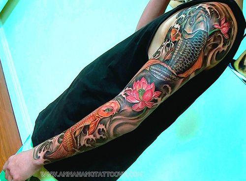 Tattoo Design Koi Fish Full Sleeve Sleeve Tattoos Full Sleeve Tattoos Tattoo Sleeve Designs