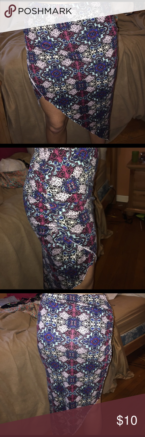 Midi/maxi Skirt Multi colored skirt good for summer nights! Barely worn. Super soft and stretchy. Charlotte Russe size: small Charlotte Russe Skirts High Low