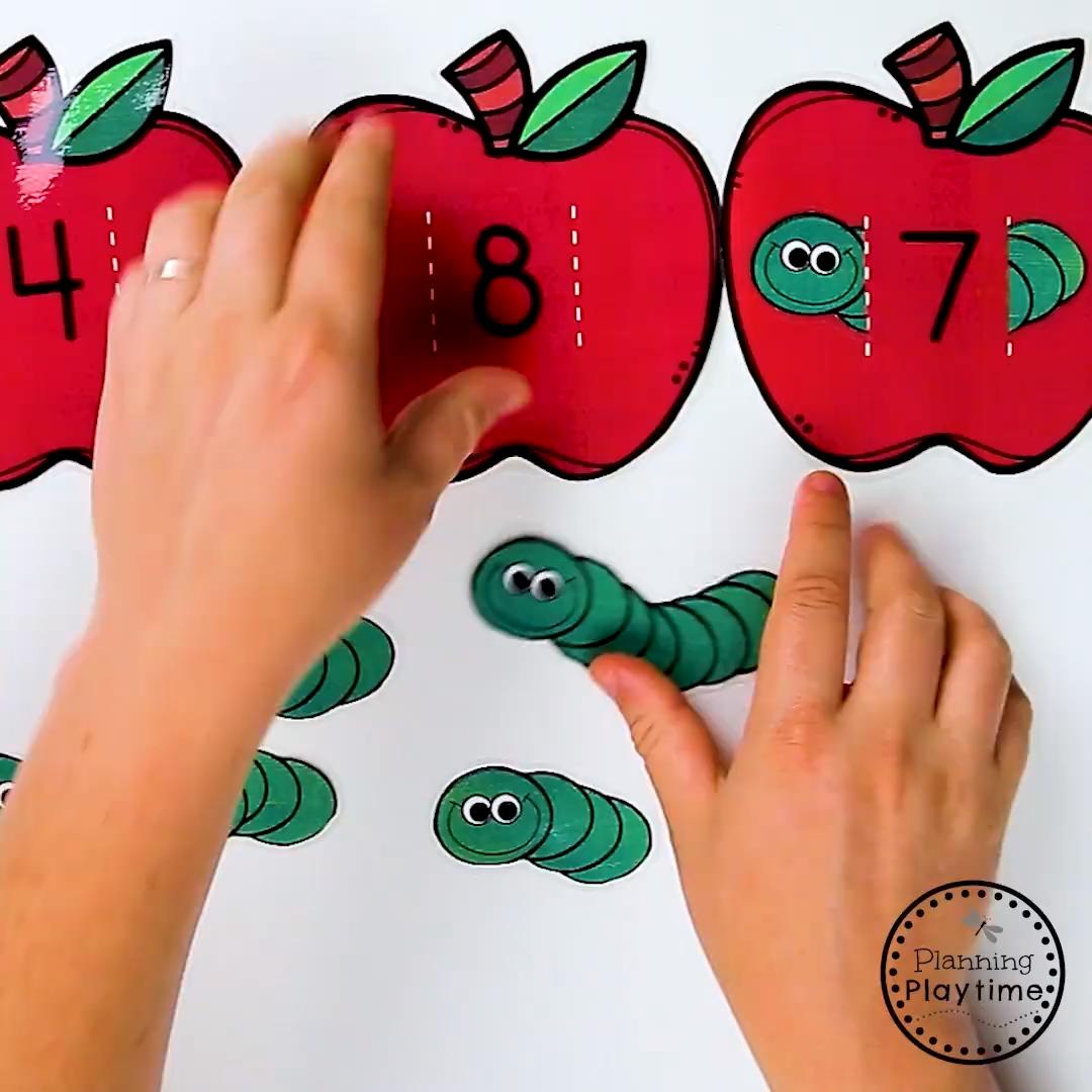Cute Preschool Apple Theme Activities - Games and Centers for Preschool or Kindergarten. #planningplaytime #preschoolprintables #appletheme #preschoolworksheets