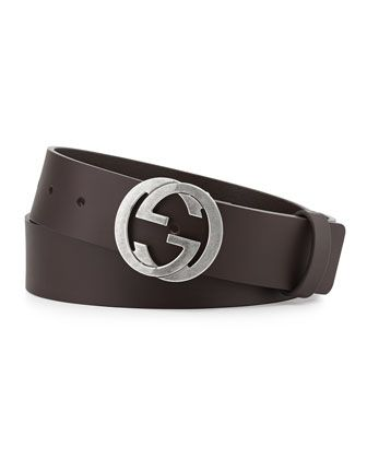 2a589163c3ee Leather Belt with Interlocking G Buckle