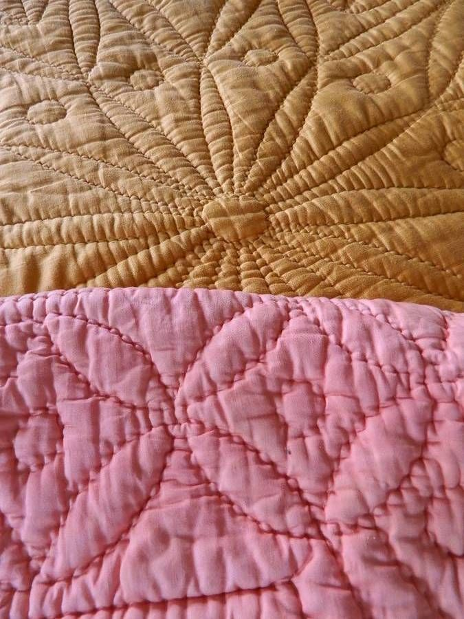 Antique Hand Stitched Cotton Durham Quilt Pumpkin Rose Pink Antique Quilts Quilting Crafts Quilts