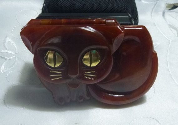 70s Avon Makeup Cat Compact Vintage Faux Tortoise Shell Kawaii 3D Kitty Kitten Honey Cat Cosmetics Eyeshadow Frosted Lip Gloss Retro Kitsch