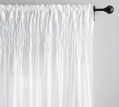 Smocked Organic Cotton Voile Drape 42 X 108 White Bedroom Curtains