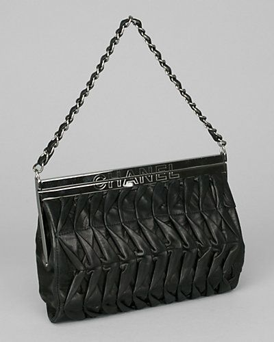 Chanel Black Pleated Calfskin Evening Bag