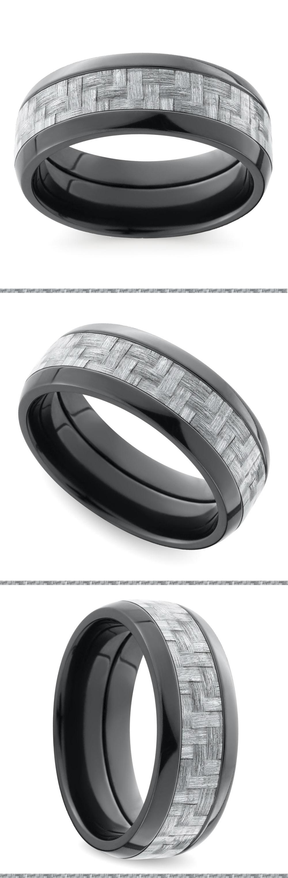 Brilliant Bijou Titanium Polished w//Black Carbon Fiber Inlay 6mm Band
